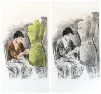 Seamstress II Portfolio 1979 Set of 2  Limited Edition Print - Raphael Soyer