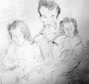 Untitled Family Portrait 1962 14x17 Drawing - Raphael Soyer