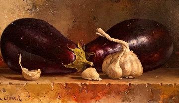 Eggplants 1995 14x20 Original Painting - Loran Speck