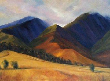 Last Cane Fields of Lahaina 2002 32x52 Original Painting - Janet Spreiter