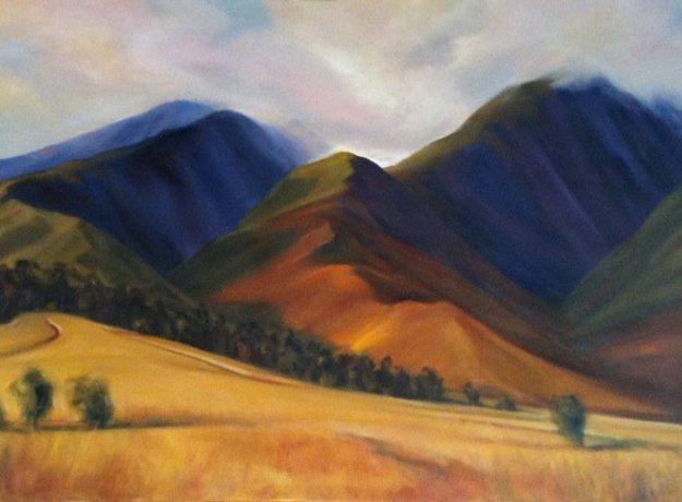 Last Cane Fields of Lahaina 2002 32x52 Original Painting by Janet Spreiter
