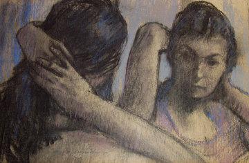 Untitled Couple 1968 21x27 Original Painting - Sierk Schroder
