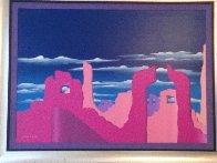 Pink Adobe 1989 50x38 Super Huge Original Painting by Stan Solomon - 1