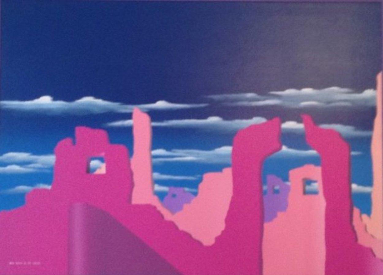 Pink Adobe 1989 50x38 Super Huge Original Painting by Stan Solomon