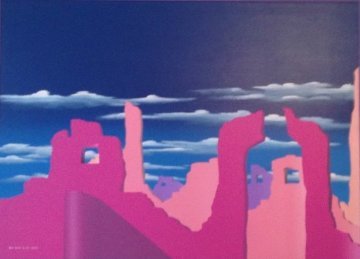 Pink Adobe 1989 50x38 Super Huge Original Painting - Stan Solomon