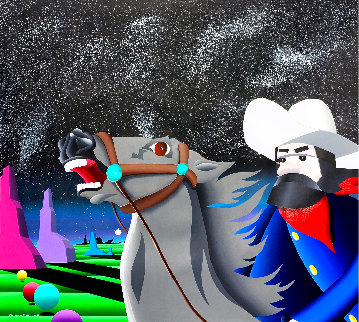 Space Cowboy 1992 44x39 Huge  Original Painting - Stan Solomon