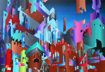 Aztec City (Crosstown Puzzle) 1984 48x72 Original Painting - Stan Solomon