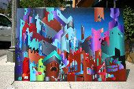 Aztec City (Crosstown Puzzle) 1984 48x72 Super Huge Original Painting by Stan Solomon - 1