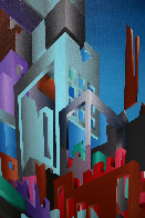 Aztec City (Crosstown Puzzle) 1984 48x72 Super Huge Original Painting by Stan Solomon - 2