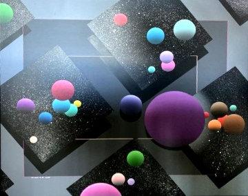 Spacescape 1989 40x36  Huge Original Painting - Stan Solomon