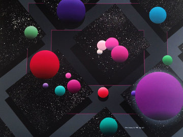 Orbs 1988 43x36 Original Painting - Stan Solomon
