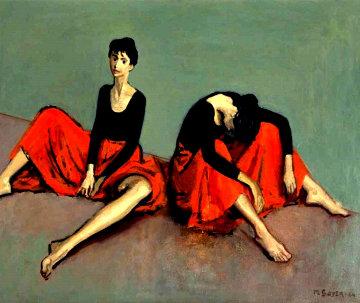 Dancers Resting 1954 25x30 Original Painting - Moses Soyer