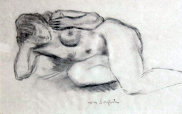 Nude 18x24 Drawing - Moses Soyer
