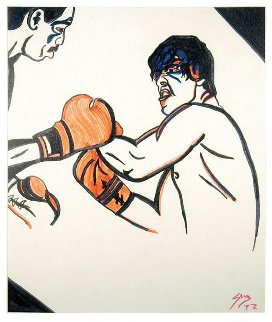 Rocky And Apollo Creed 1977 20x24 Original Painting - Sylvester Stallone
