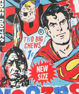 Superman, Two Big Chews 2015 60x50 Original Painting by John Stango