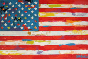 American Flag  2000 33x21 Original Painting by John Stango