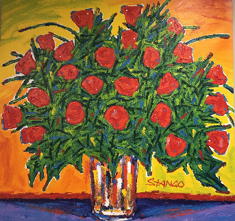 Bouquet of Red Roses 2008 42x40 Super Huge  Original Painting - John Stango