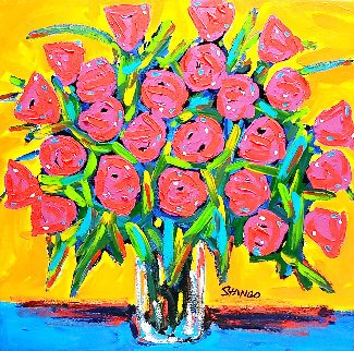 Red Roses 2008 32x33 Original Painting - John Stango