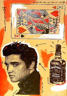 Untitled - Portrait of Elvis 58x36 Super Huge Original Painting - John Stango