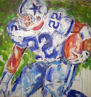 Emmitt Smith Watercolor 1994 58x56 Super Huge  Watercolor - John Stango