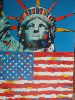 Lady America And Star Spangled Banner 42x31 Super Huge Original Painting - John Stango