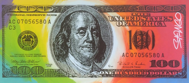 Benjamin Franklin 100 Dollar Bill 18x41 Original Painting by John Stango