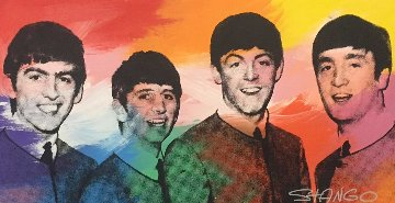 Beatles Group 1997 64x39 Original Painting - John Stango