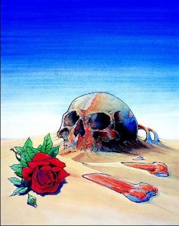 Skull And Rose in Sand 1981 Limited Edition Print by Stanley Mouse