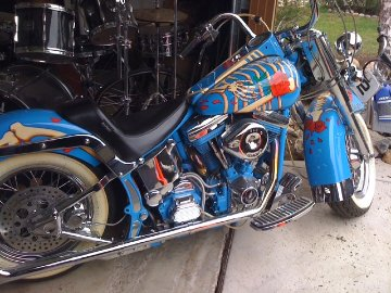 Harley Softail Motorcylce With Skeleton And Rose Grateful Dead Unique 24x48 Other by Stanley Mouse