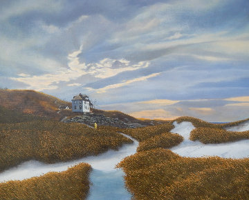 Untitled (Sand Dunes By the Sea) 28x34 Original Painting - Stephen Stavast