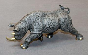 Black Rhinoceros Bronze Sculpture 2016 17 in Sculpture - Barry Stein