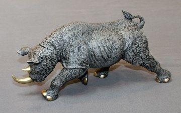 Black Rhinoceros Bronze Sculpture 2016 17 in Sculpture by Barry Stein