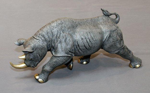 Black Rhinoceros Bronze Sculpture 2016 17 in Sculpture by Barry Stein