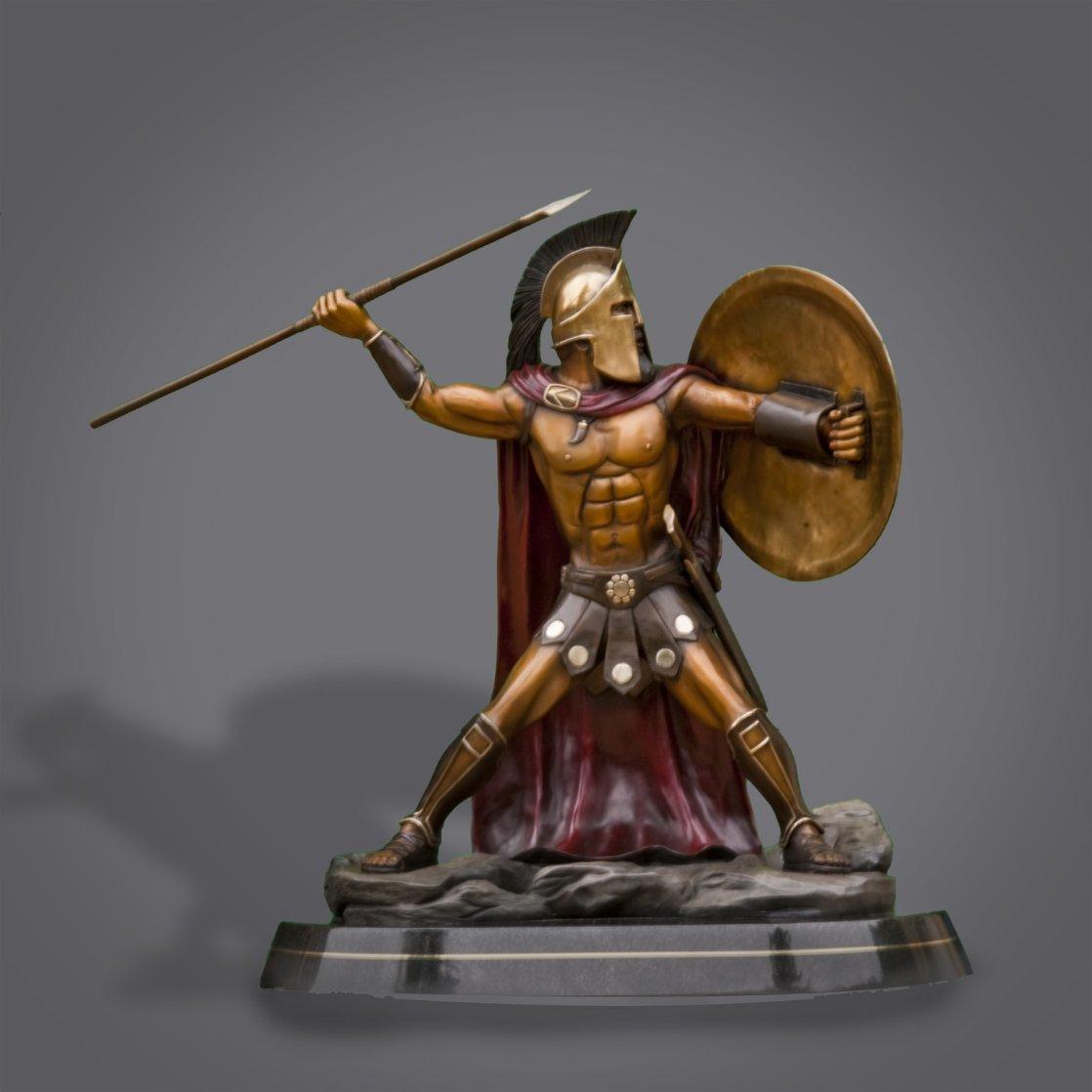 Bronze Spartan Warrior King Leonidas Prepare For Glory Sculpture 2016 26 in Sculpture by Barry Stein