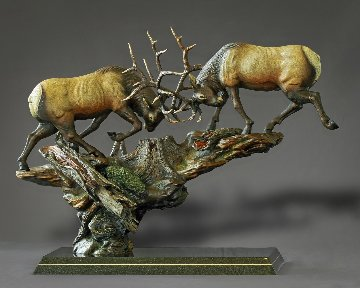 Royal Conflict Bronze Sculpture 2015 38x30 Sculpture by Barry Stein