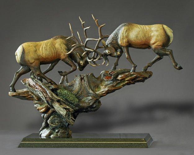 Royal Conflict Bronze Sculpture 2015 38x30 Sculpture by Barry Stein
