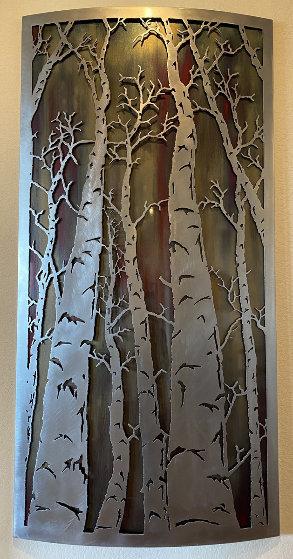 Aspen Trees Metal Unique  Relief Wall Sculpture 2018 56x28  Sculpture by BenJamin Stielow
