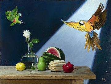 Attack on the Still Life 2019 30x40 Original Painting - Thomas Stiltz