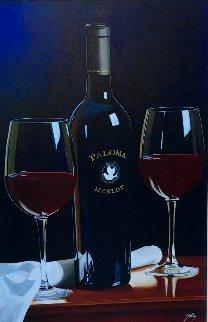 Paloma 2001 Merlot 46x33 Original Painting - Thomas Stiltz