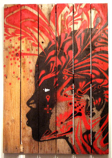 Untitled #5 (Black With Red) 45x32 Original Painting -  Stinkfish