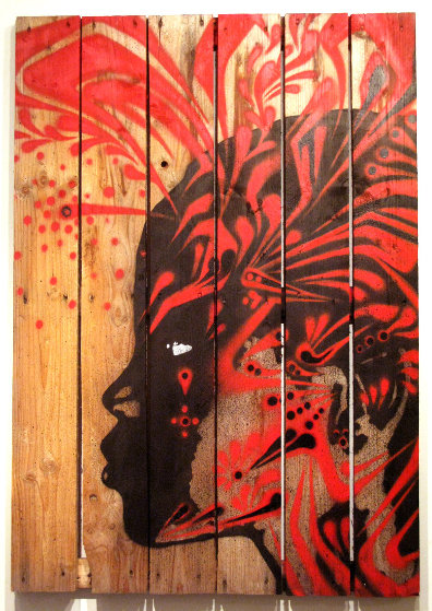 Untitled #5 (Black With Red) 45x32 Original Painting by  Stinkfish