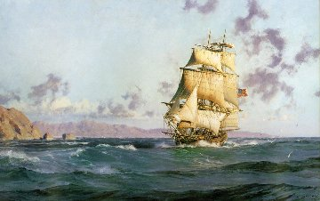Santa Barbara the Brig Pilgrim Leaving For Monterey 1978 Limited Edition Print - John Stobart