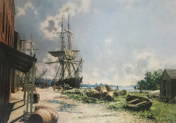 Georgetown: Vessels At the Potomac Wharf in 1842 Limited Edition Print by John Stobart