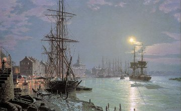Savannah - Moonlight Over the Savannah River - 1850 Limited Edition Print - John Stobart