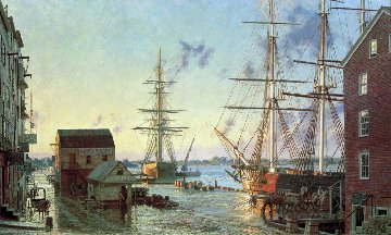 Portsmouth, Merchant Row Overlooking Piscataqua River 1828 1987 Limited Edition Print - John Stobart
