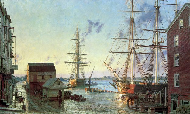 Portsmouth, Merchant Row Overlooking Piscataqua River 1828 1987 Limited Edition Print by John Stobart