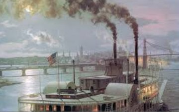 Pittsburgh the Sidewheel-steamer Dean Adams Arriving At the Point in 1880 1987 Limited Edition Print by John Stobart