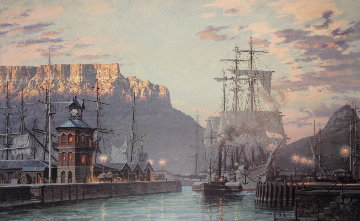 Cape Town, The Bark William Hales Towing Out Past the Clock Tower At Dawn in 1886 Limited Edition Print - John Stobart