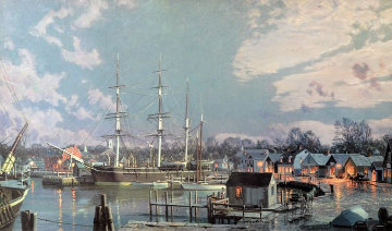 Mystic Seaport C. Morgan Chubbs Wharf Remarqued  Limited Edition Print by John Stobart