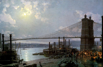 Cincinnati-Moonlight on the Ohio From the Public Landing AP 1880 Limited Edition Print by John Stobart